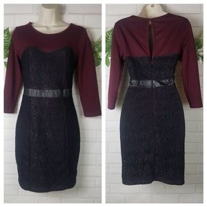 2b Bebe black lace burgundy dress size Medium